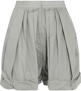 Vika Gazinskaya Pleated Cotton Shorts - Light gray
