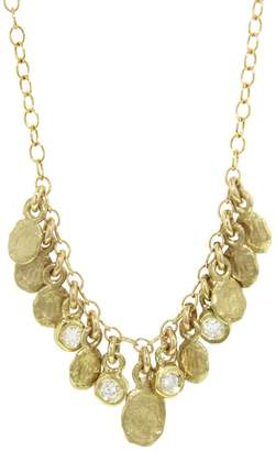 FLAKE Victoria Cunningham Four Diamond Drop Golden Cluster Necklace - Yellow Gold