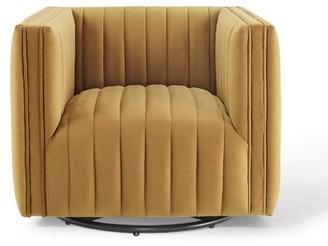 "Everly Quinn Kwok Channel Tufted Swivel 27"" Armchair Fabric: Cognac"