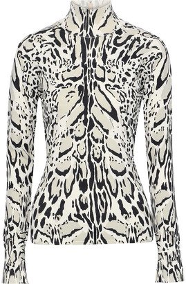 Roberto Cavalli Open-back Printed Wool-blend Top
