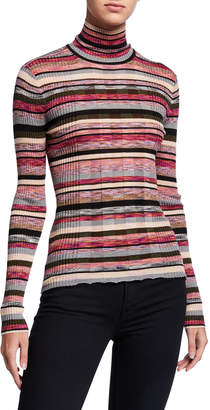 JED Striped Skinny Mini Rib Turtleneck Sweater