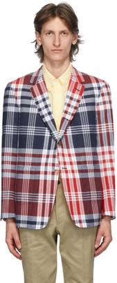 Thom Browne Navy and Red Large Plaid Madras Sack Sport Coat Blazer