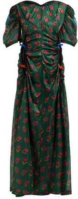 Toga Floral-print Ruched Cut-out Maxi Dress - Womens - Green Print