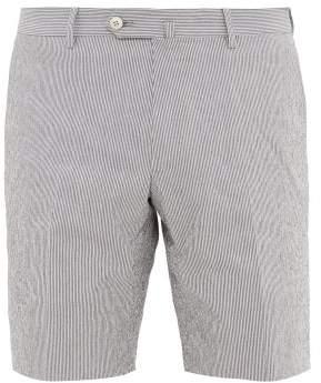 Odyssee - Pierre Cotton-blend Seersucker Shorts - Mens - Blue Multi