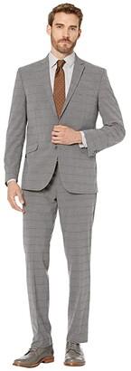 Kenneth Cole Reaction Graph Plaid Slim Fit Stretch Performance Suit (Grey Plaid) Men's Suits Sets