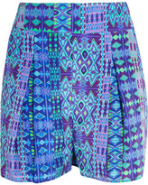 Matthew Williamson Printed Silk Crepe De Chine Shorts - Cobalt blue