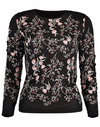 Giambattista Valli Black Long Sleeve Embroidered Cashmere Sweater