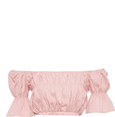 Blumarine Ruched Off the Shoulder Cropped Blouse