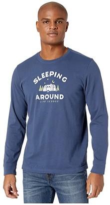Life is Good Sleeping Around Long Sleeve Crusher Tee (Darkest Blue) Men's Clothing