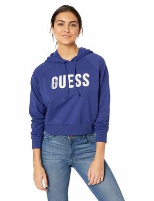 GUESS Women's Long Sleeve Foil Logo Hoodie