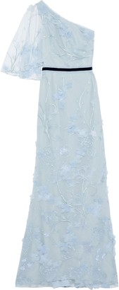 Marchesa One-shoulder Floral-appliqued Embroidered Tulle Gown