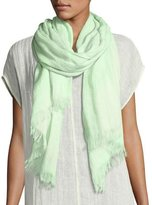 Eileen Fisher Organic Linen Gauzy Dots Scarf, Light Green