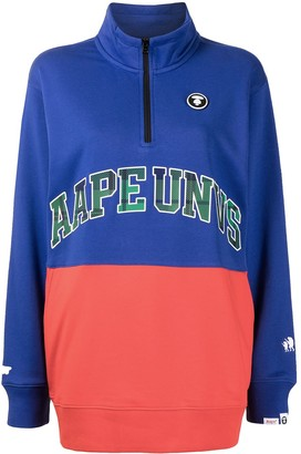 AAPE BY *A BATHING APE® Slogan-Print Zip-Up Sweatshirt