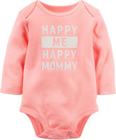 Carter's Long-Sleeve Coral Mommy Slogan Bodysuit - Girls 0-24m