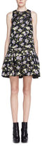 Alexander McQueen Floral Fil Coupe Drop-Waist Dress, Black