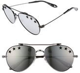 Givenchy Women's Star Detail 58Mm Mirrored Aviator Sunglasses - Black