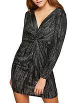 Miss Selfridge Petite Glitter Knot Front Dress, Silver
