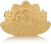Charlotte Olympia Lotus brass clutch