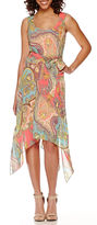 Robbie Bee Sleeveless Print Handkerchief-Hem Dress