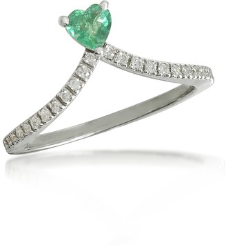 Forzieri Emerald Heart V-Shaped Diamonds Band Ring