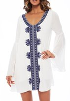Maxwell Women's Boho Embroidered Bell Sleeve Casual Tunic Cover-up Beachwear