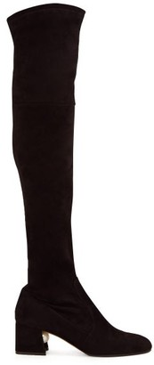 Nicholas Kirkwood Miri Faux Pearl-embellished Suede Knee-high Boots - Womens - Black