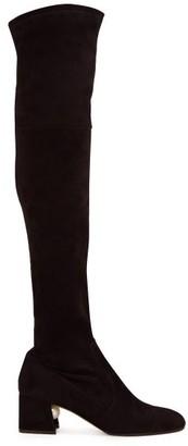 Nicholas Kirkwood Miri Faux Pearl-embellished Suede Knee-high Boots - Womens - Black