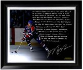 """Steiner Sports Edmonton Oilers Mark Messier Oilers Dynasty Facsimile 22"""" x 26"""" Framed Stretched Story Canvas"""