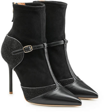 Malone Souliers Sadie Suede and Leather Stiletto Ankle Boots