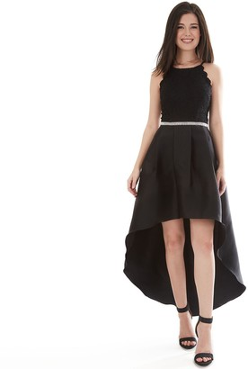 Iz Byer Juniors' Cutaway Scalloped Neck Pleated High-Low Dress
