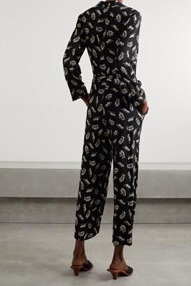 HVN Gia Printed Voile Jumpsuit - Black