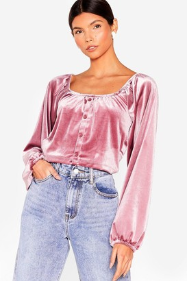 Nasty Gal Womens Better Make a Smooth Velvet Cropped Blouse - Mauve