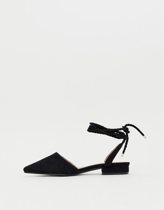 Raid RAID Jennie black ankle tie flat shoes