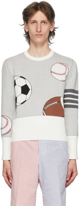 Thom Browne White and Grey 4-Bar Striped Multi Ball Icon Sweater