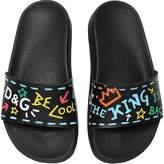 Dolce & Gabbana Doodles Printed Leather Slide Sandals