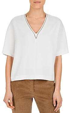 Gerard Darel Marjory Embellished V-Neck Top