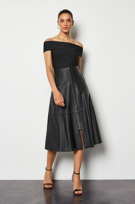 Karen Millen Midi Full Leather Skirt