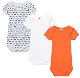 Petit Bateau Orange, White and Grey Car Print Pack of 3 Short Sleeve Baby Bodies