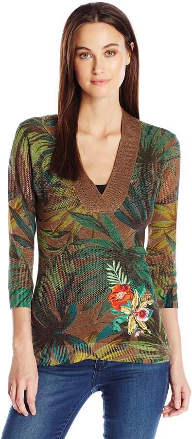 Desigual Women's Ali Flat Knitted Thin Gauge Pullover, Glass Green, XL