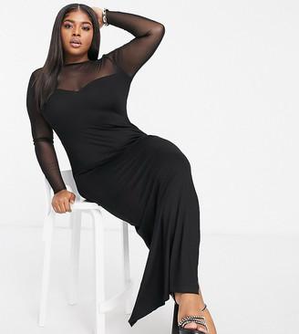 ASOS DESIGN Curve long sleeve mesh yoke maxi dress in black