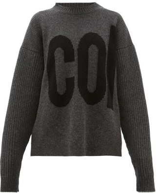 Colville - Logo-intarsia Dropped-sleeve Wool Sweater - Womens - Dark Grey