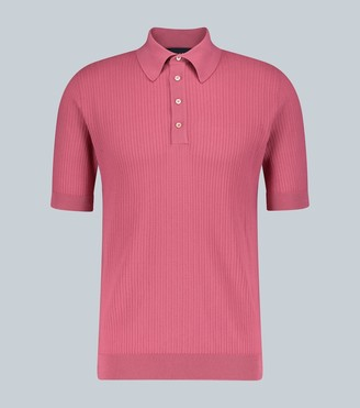 Lardini Ribbed knit cotton polo shirt