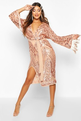 boohoo Sequin and Tassel Kimono Sleeve Midi Dress