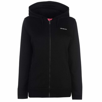L.A. Gear Womens FZ Hoody Ladies Long Sleeve Full Zip Casual Hoodie Sweat Top Black 22 (XXXXL)