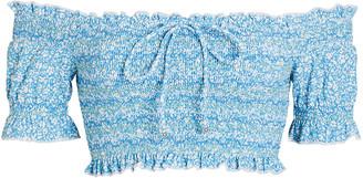 Jonathan Simkhai Chlee Smocked Off-the-Shoulder Bikini Top