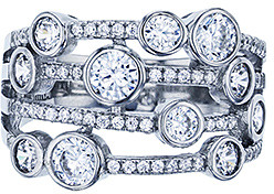 Simply Silver, Simply Brilliant Women's Rings RHODIUM - Cubic Zirconia & Sterling Silver Multi-Strand Ring
