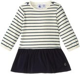 Petit Bateau Dress With Taffeta Skirt (Baby) - Navy White - 12-18 Months
