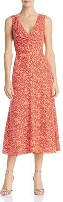 Rebecca Taylor Malia Twist-Front Floral Dress