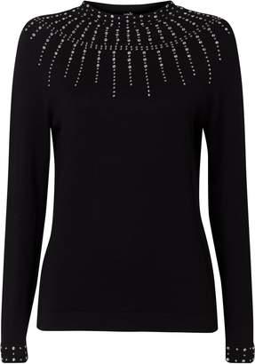 Wallis **TALL Black Embellished High Neck Jumper