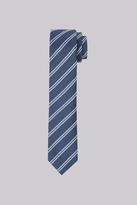 Moss Bros Premium Navy Stripe Silk Skinny Tie